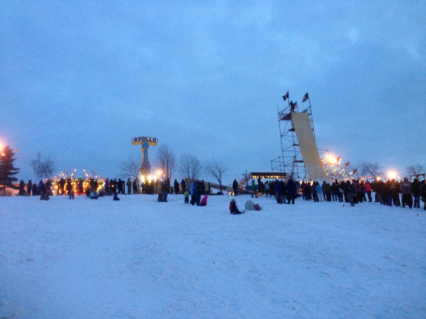 Outdoor carnival in February.  Only in Alaska!