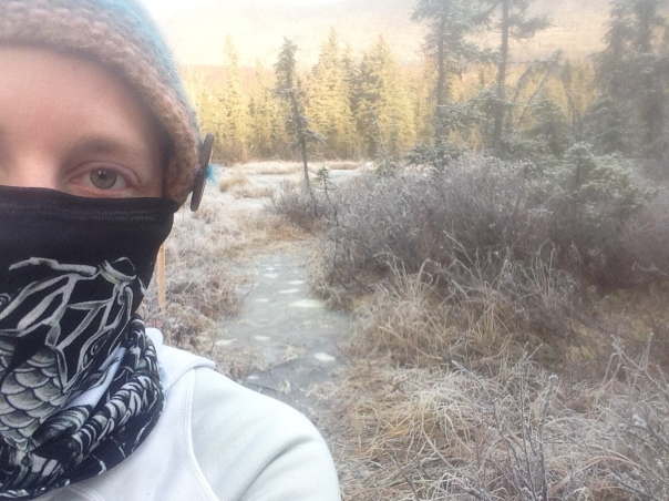 The icy trail behind me is usually a squishy bog.
