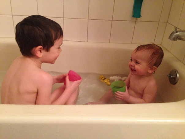 The brother bathtub picture. A childhood requirement.