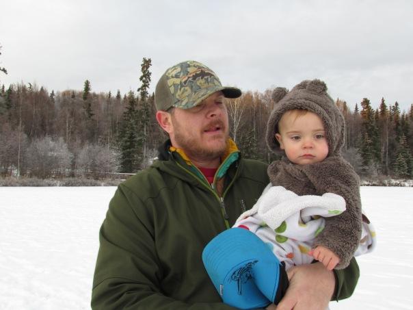 Daddy and baby Skye on Beach Lake.